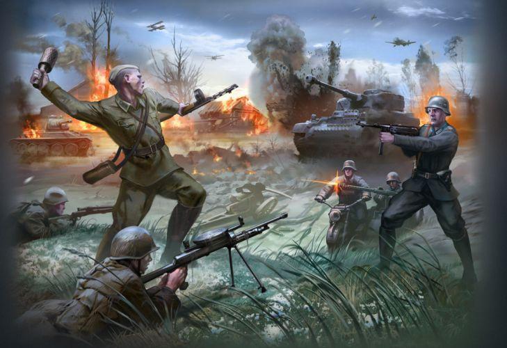 War the Soviet Union soldiers tanks German Russian aircraft military battle wallpaper
