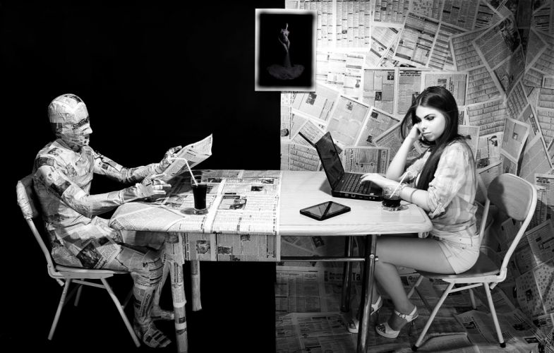 NEWSPAPERS text table chair girl man laptop tablet INFORMATION GLASS psychedelic women females girls humor funny wallpaper