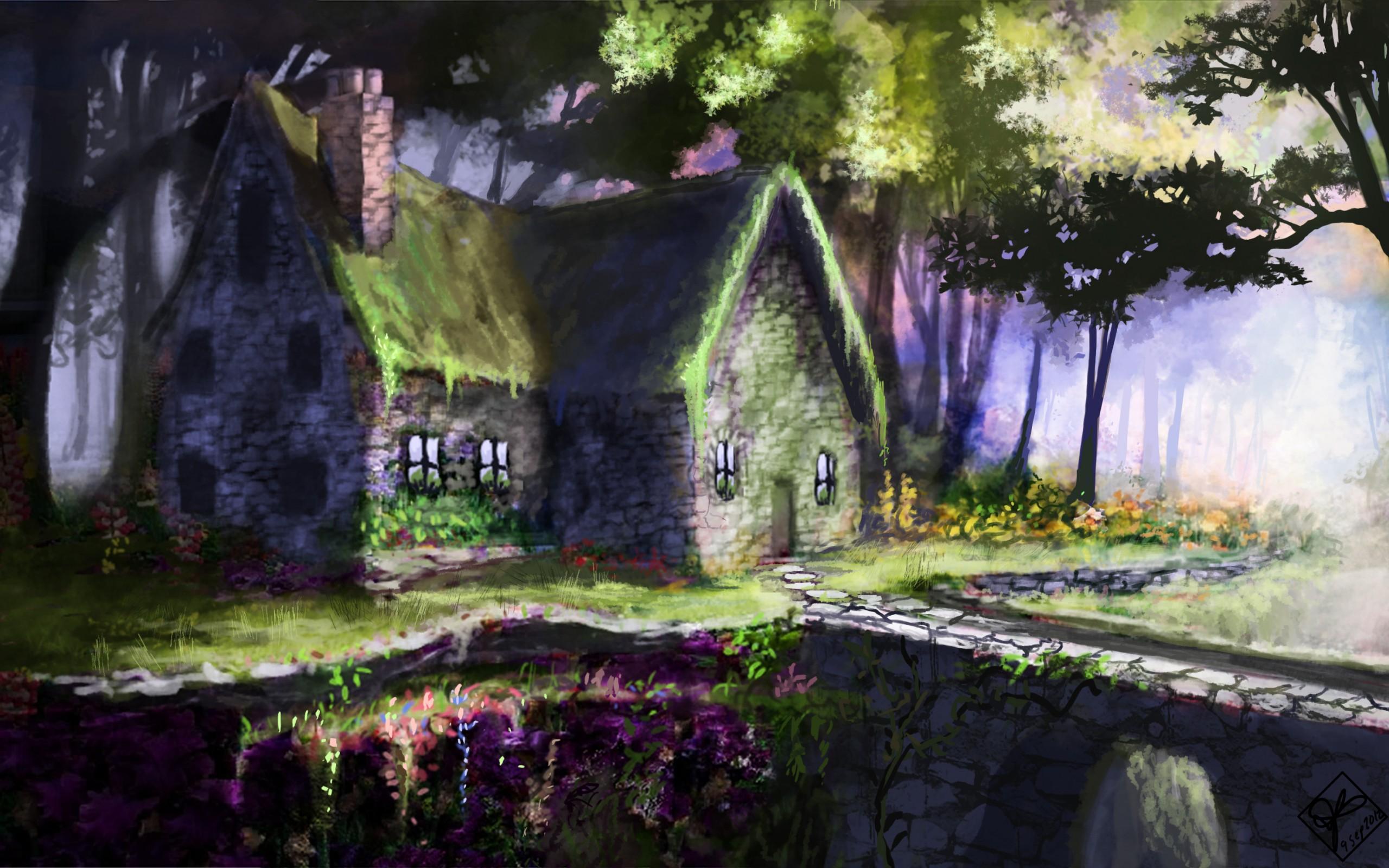 Art house bridge landscape flowers buildings flowers - Fantasy wallpaper bridge ...