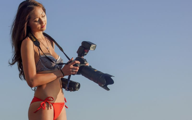 asian oriental women females girlss bikini swimwear technology camera brunette wallpaper