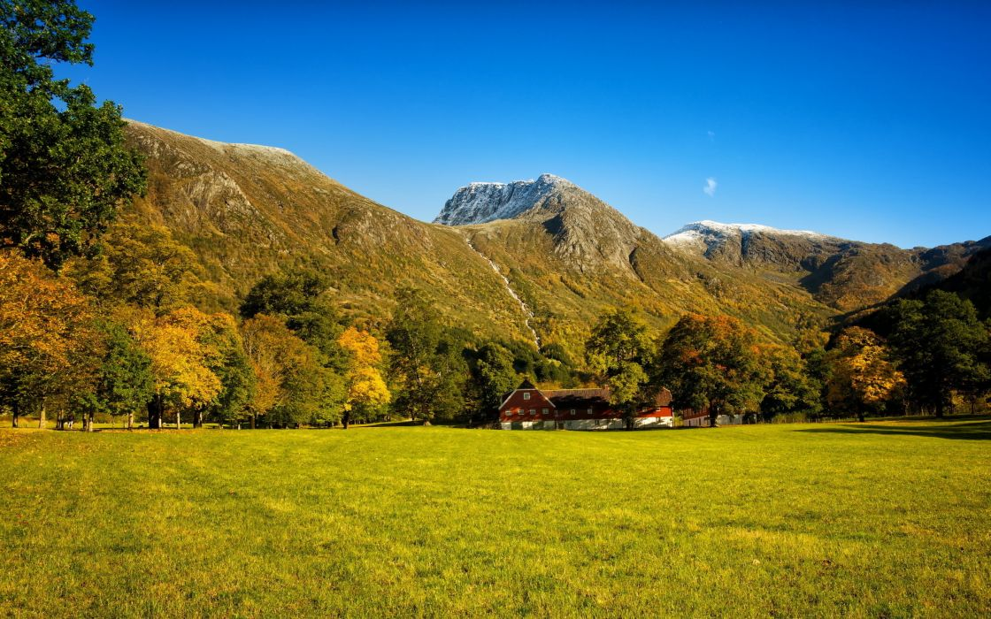 autumn  mountains  waterfalls  woods  trees  grass  meadow  house_ buildings rustic wallpaper