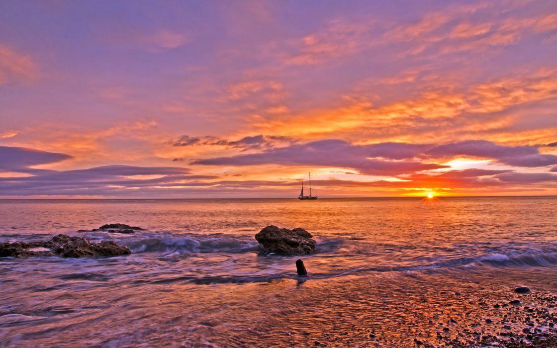 beaches sea ocean sky sunset waves hdr wallpaper
