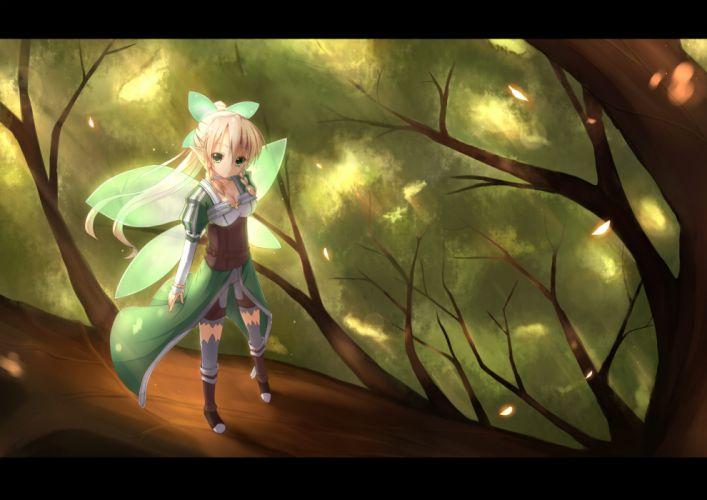 (asita) kirigaya suguha leafa sword art online tree wings wallpaper