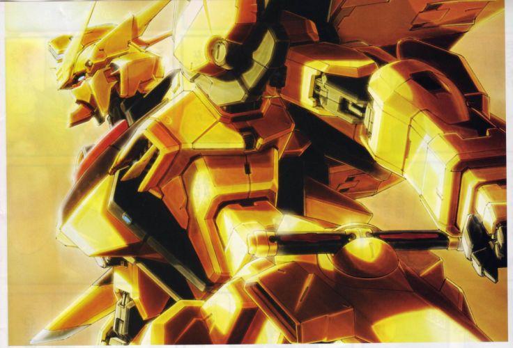 akatsuki armor mecha mobile suit gundam robot sword weapon yellow wallpaper