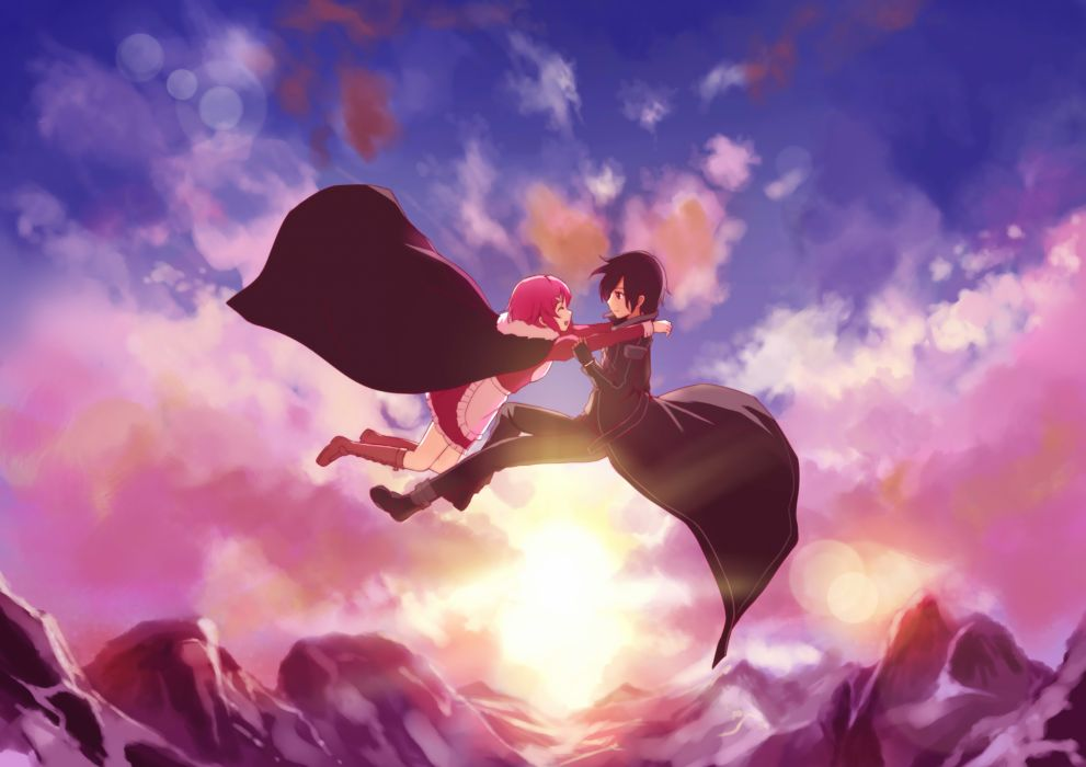 apron beiyu black eyes black hair boots cape clouds gloves kirigaya kazuto lisbeth pink hair short hair sky sword art online wallpaper