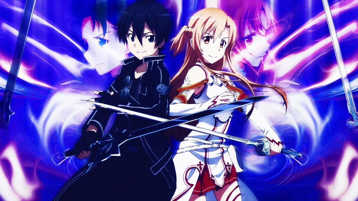 armor black eyes black hair brown hair elbow gloves gloves kirigaya kazuto long hair short hair sword sword art online weapon yuuki asuna wallpaper