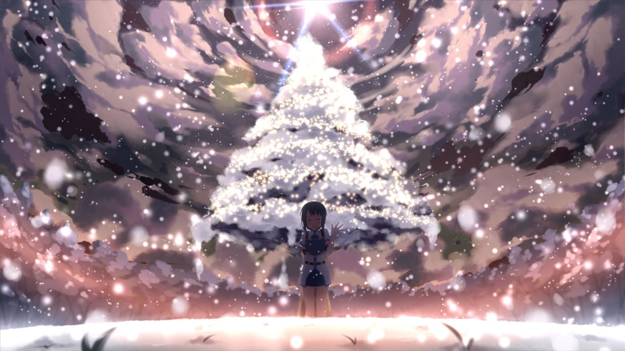 armor blue hair blush elbow gloves sachi (sword art online) short hair sky snow sword art online tagme tears tree yuuri (asterisk) wallpaper