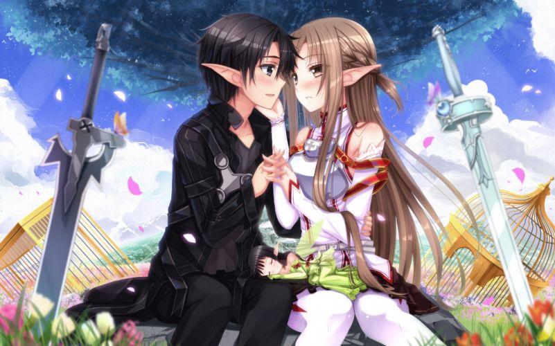flowers kirigaya kazuto petals sword sword art online swordsouls weapon yui (sword art online) yuuki asuna wallpaper