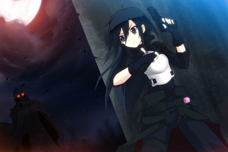 black eyes black hair dark gun kirigaya kazuto long hair night sword art online tagme uiu weapon wallpaper