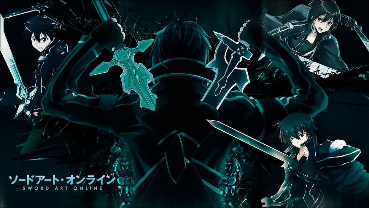 black hair gloves kirigaya kazuto short hair sword sword art online weapon wallpaper