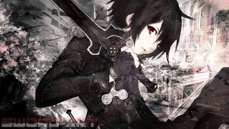 black hair jaehito kirigaya kazuto red eyes short hair sword sword art online weapon wallpaper