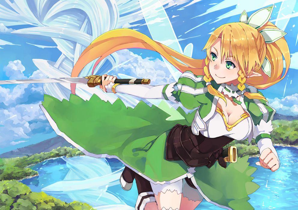 blonde hair dress green eyes hao (patinnko) leafa sky sword sword art online weapon wallpaper