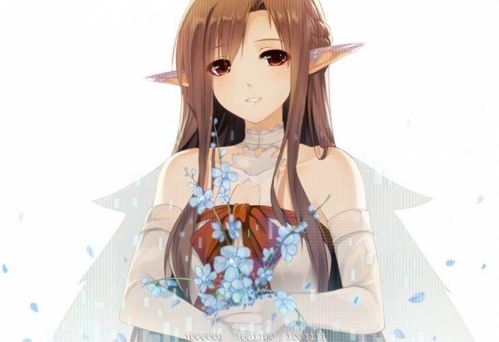 brown hair caidychen elf long hair sword art online yuuki asuna wallpaper