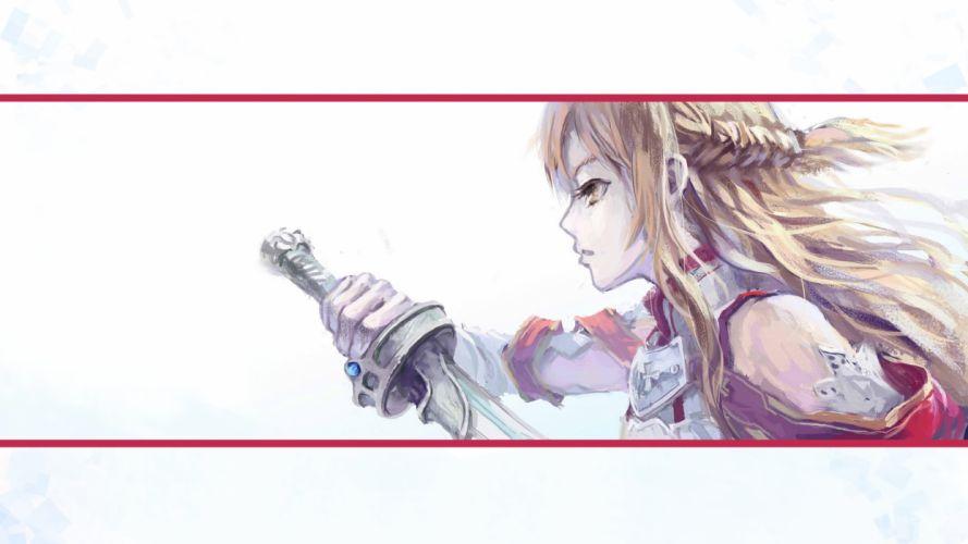 brown hair photoshop sword sword art online weapon yuuki asuna wallpaper