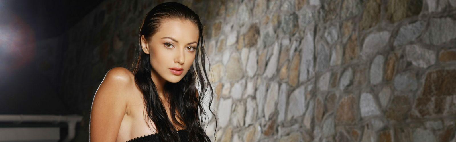 women eyes long hair smiling Anna Sbitnaya faces Ukrainian black hair wallpaper