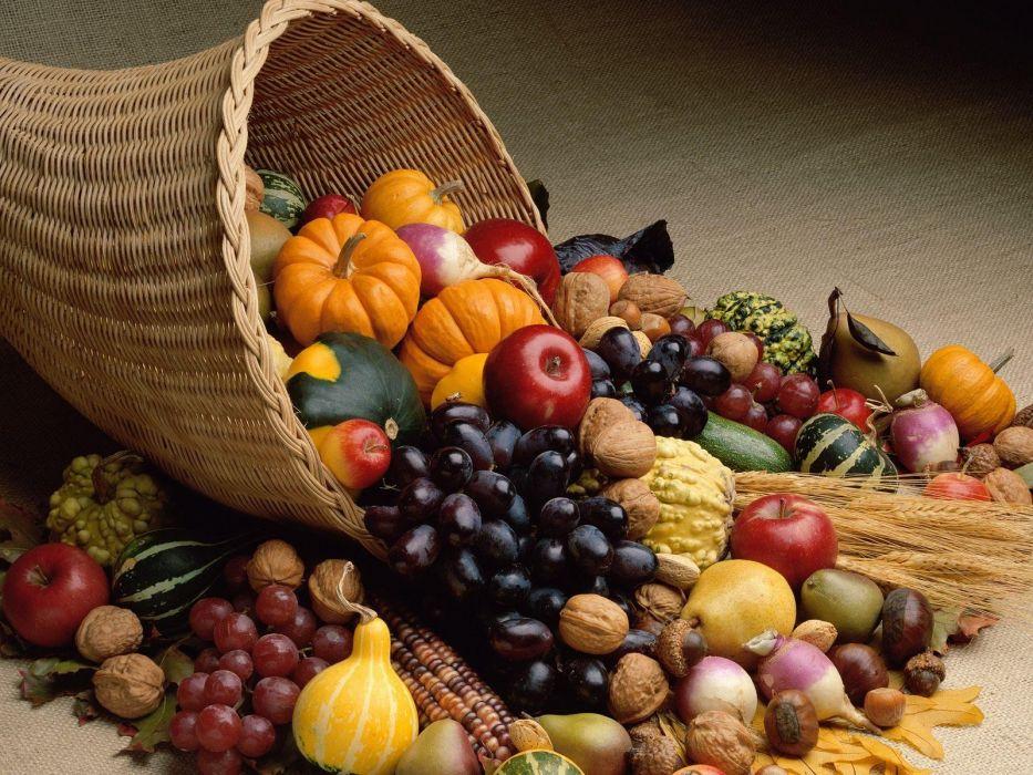 vegetables autumn (season) fruits food Thanksgiving cornucopia wallpaper
