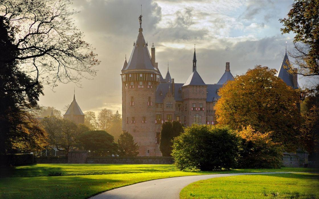 landscapes nature path shadows parks castle autumn wallpaper