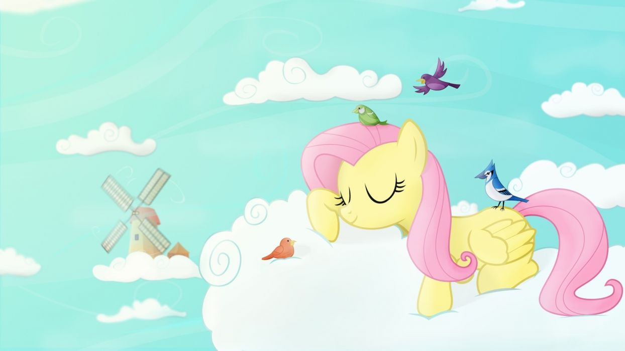 clouds sleeping Fluttershy ponies My Little Pony: Friendship is Magic wallpaper