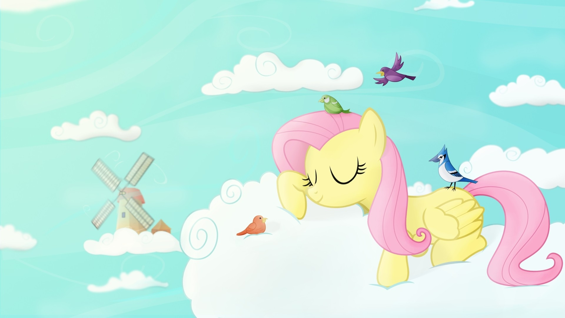 clouds sleeping fluttershy ponies my little pony friendship is magic wallpaper 1920x1080. Black Bedroom Furniture Sets. Home Design Ideas