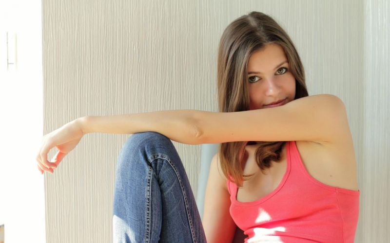 brunettes women jeans models brown eyes tank tops Domai magazine singlet Ukrainian natural lighting Ksenee (Domai) wallpaper