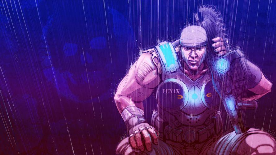 video games Gears of War Marcus in the rain wallpaper
