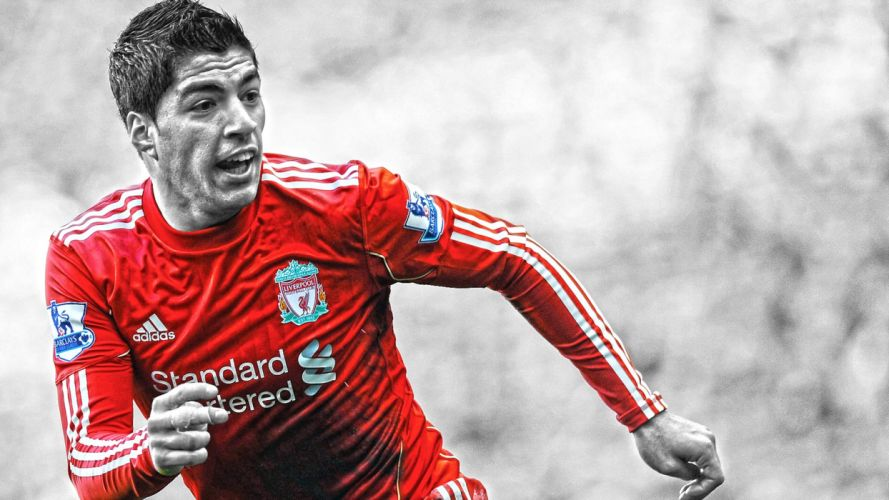 soccer HDR photography selective coloring premier league cutout Luis Suarez wallpaper
