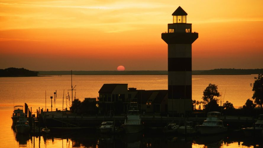 head lighthouses harbour town islands South Carolina wallpaper