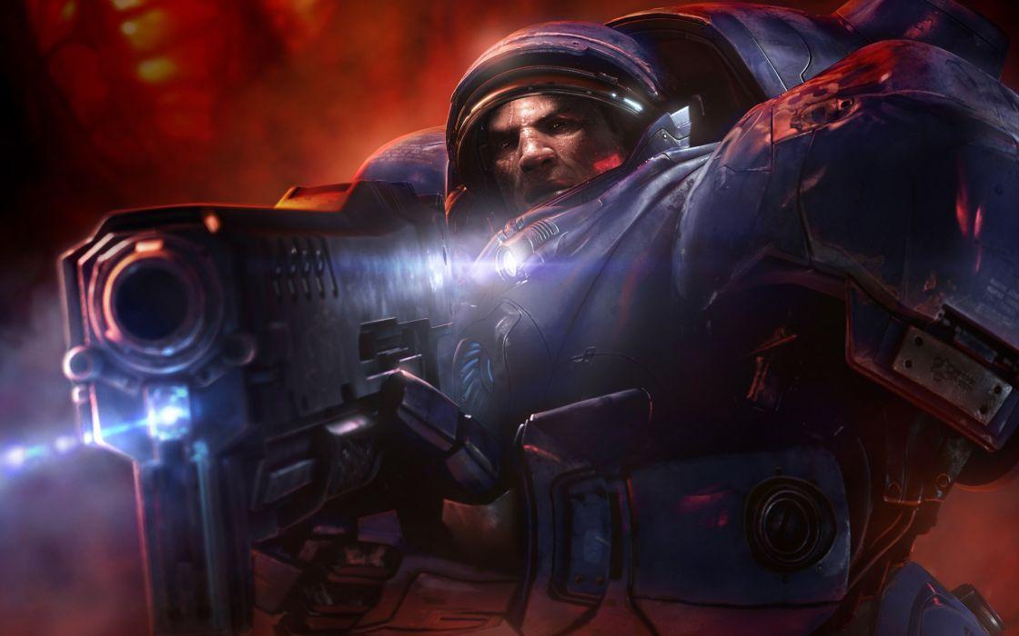video games Terran US Marines Corps artwork tyrchus StarCraft II wallpaper