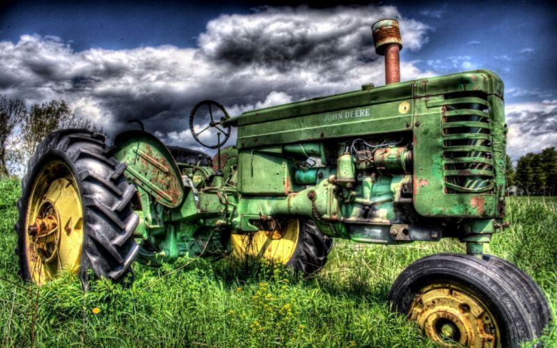 tractors HDR photography John Deere wallpaper