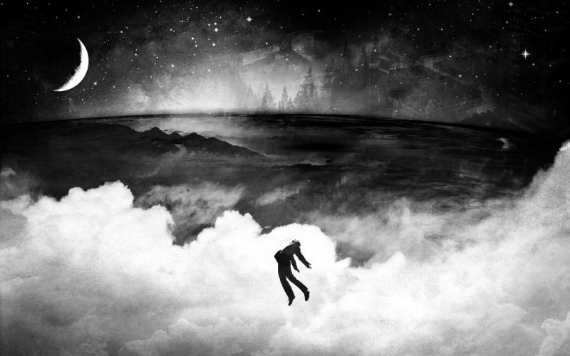 clouds outer space floating Moon grayscale vhm alex artwork Alex Cherry wallpaper