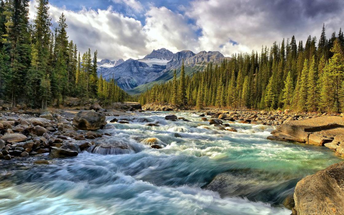 Alberta Canada river mountain wallpaper