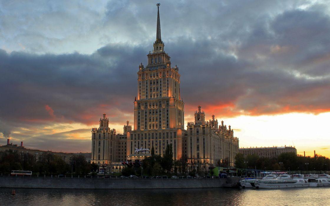Moscow Sky Ukraine Hotel Clouds wallpaper