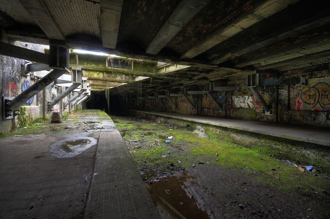 Ruins Station Architecture Graffiti Buildings Wallpaper