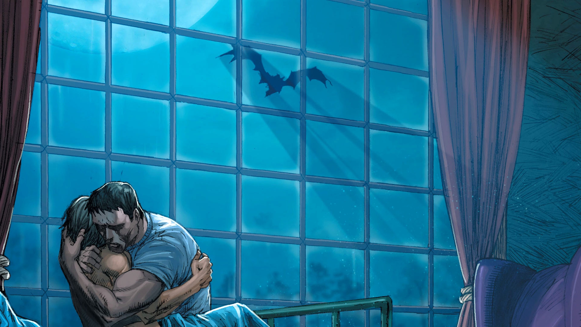 Batman Hug Embrace Drawing Shadow Night Window DC-comics wallpaper