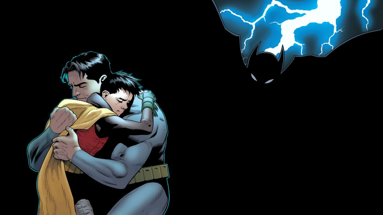 Batman Robin Hug Embrace Lightning Black DC-comics wallpaper