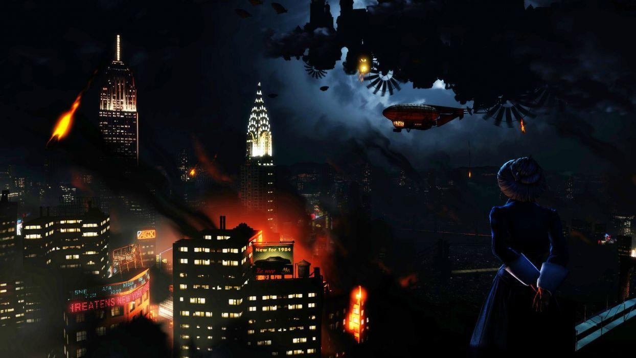 Bioshock Infinite Steampunk Night Buildings Skyscrapers Sci Fi Cities Wallpaper