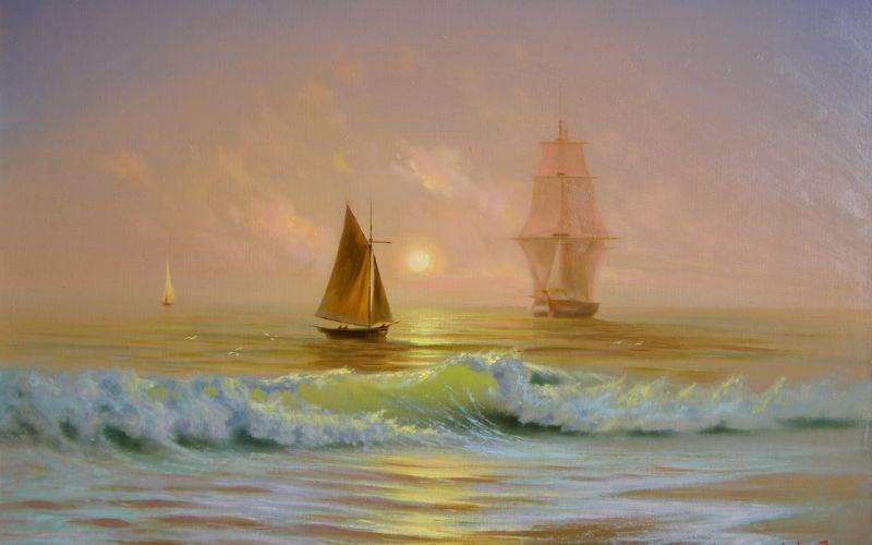 paintings waves ships artwork wallpaper