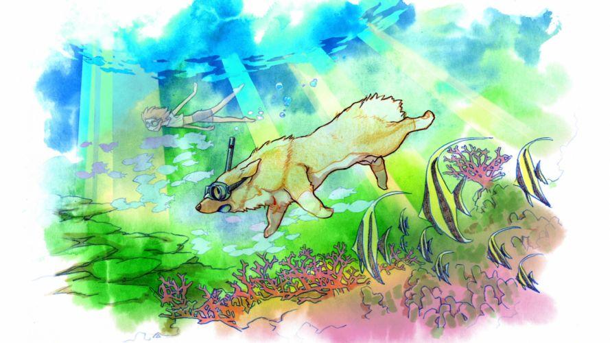 Dog Snorkel Underwater Dive Drawing wallpaper