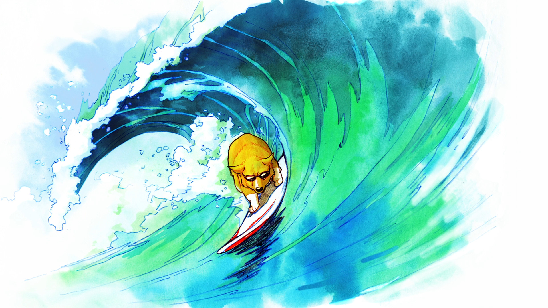 Dog Surf Surfing Wave Drawing Wallpaper