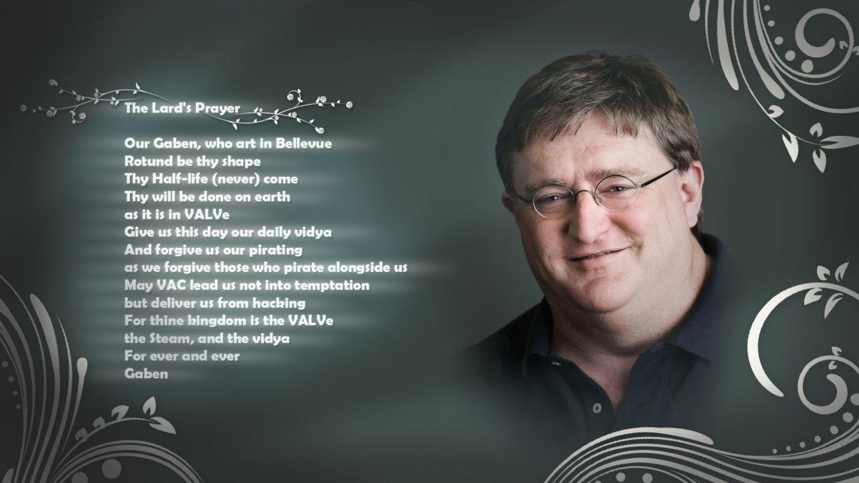 Gabe Newell The Lard's Prayer Prayer text humor wallpaper