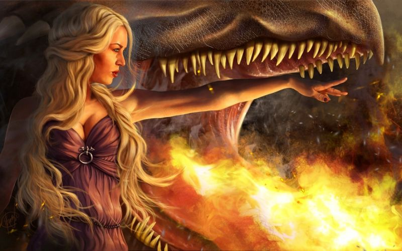 Game of Thrones Song of Ice and Fire Dragon Drawing Daenerys Targaryen Blonde Fire wallpaper