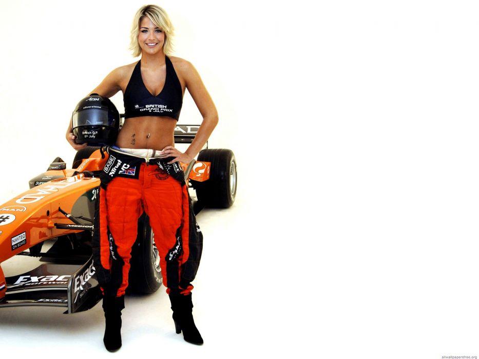 Gemma Atkinson White F1 Blonde Race Car Formula One cars wallpaper