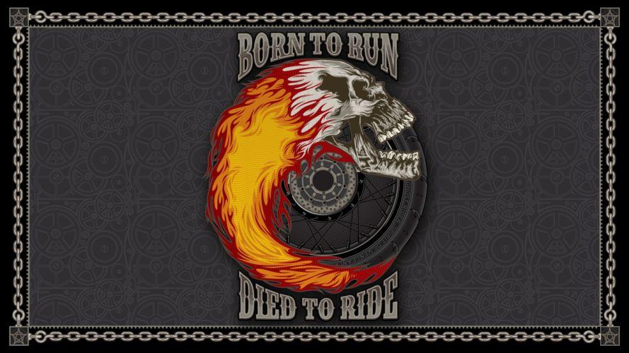 Motorcycles Wheel Ride Skull dark wallpaper