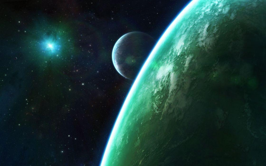 Planets Stars Starlight Green wallpaper