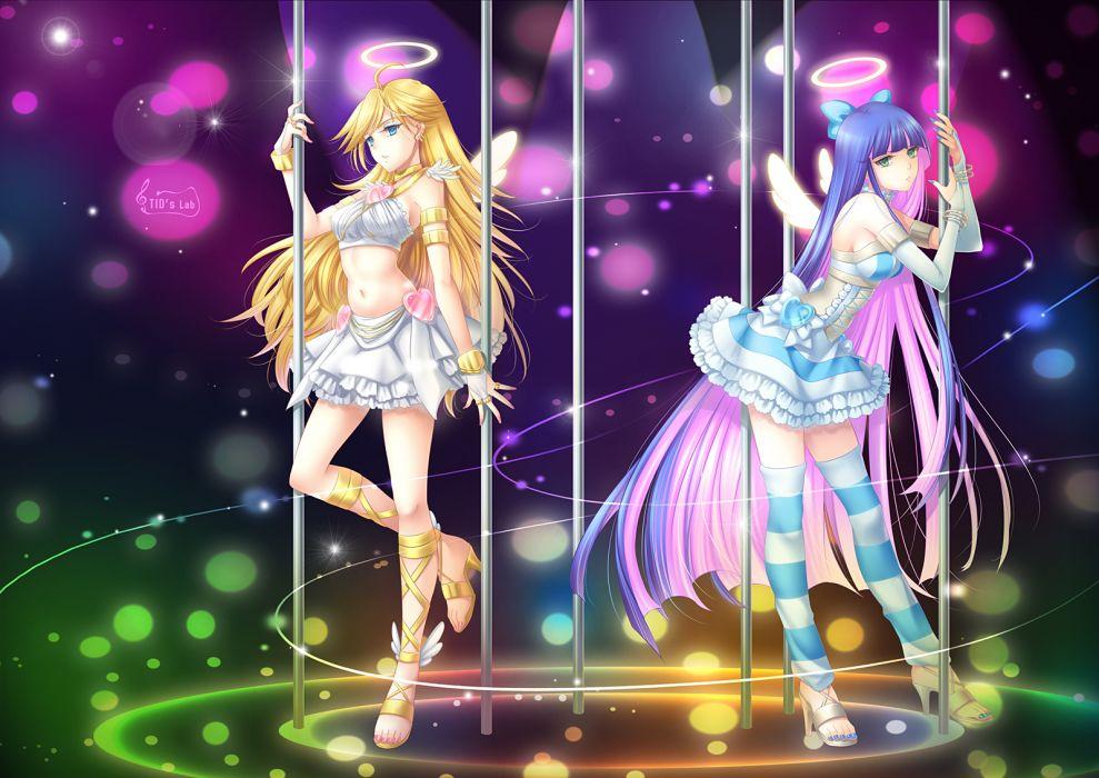 angel blonde hair blue hair dress green eyes lolita fashion panty (character) stocking (character) thighhighs tidsean wings wallpaper