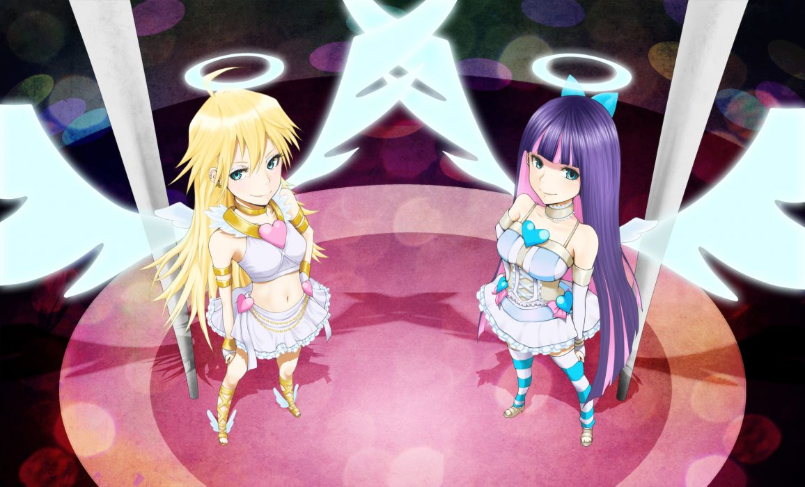 angel blonde hair blue hair niou kaoru panty & stocking with garterbelt panty (character) skirt stocking (character) wings wallpaper