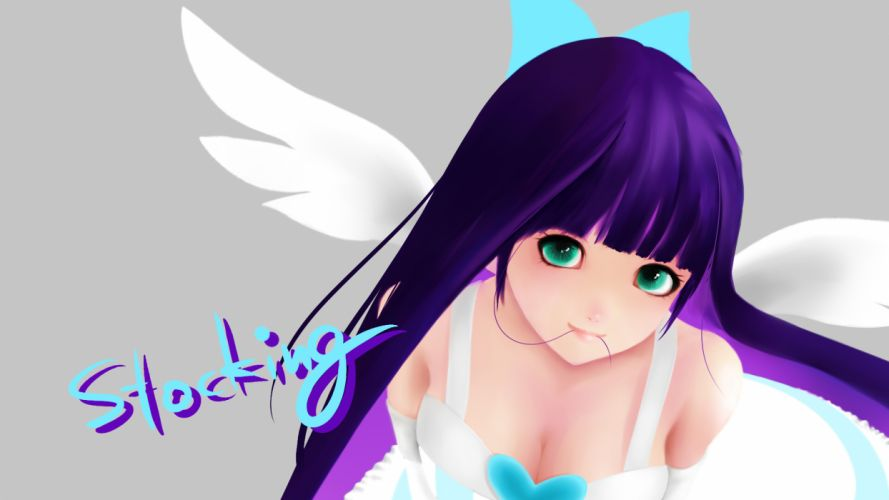 cleavage panty & stocking with garterbelt purple hair stocking (character) wings wallpaper