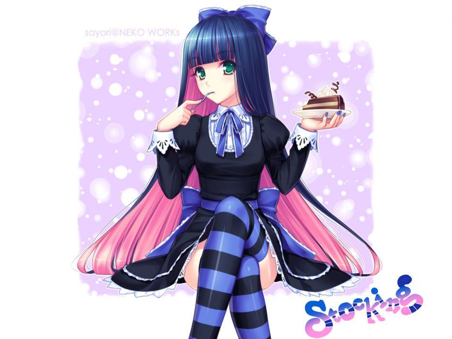 food long hair panty & stocking with garterbelt photoshop ribbons sayori stocking (character) thighhighs wallpaper