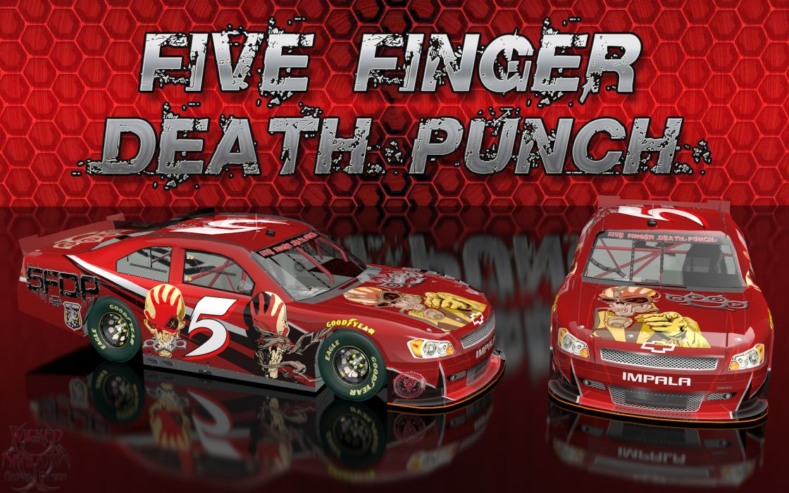 FIVE FINGER DEATH PUNCH heavy metal hard rock bands nascar racing race cars    q wallpaper
