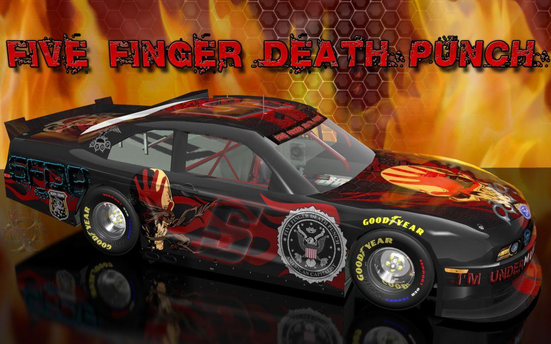FIVE FINGER DEATH PUNCH heavy metal hard rock bands nascar racing race cars wallpaper